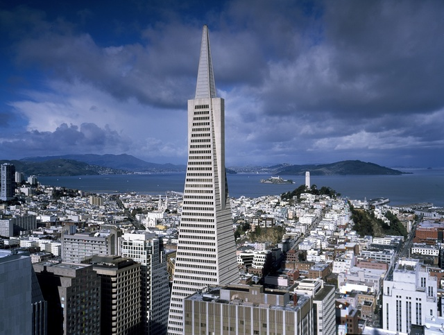 Street-level view of San Francisco, with a focus on the 1972 Transamerica Pyramid