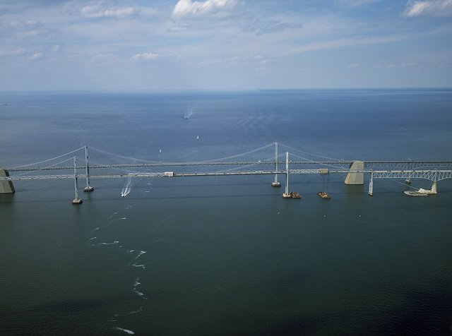 The Chesapeake Bay Bridge, officially the William Preston Lane, Jr. Memorial Bridge, connecting the Maryland capital city, Annapolis, with Maryland's Eastern Shore in Queen Anne County