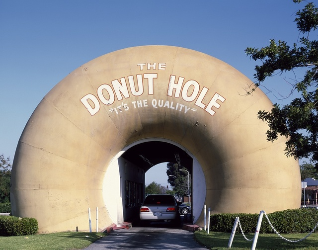 The Donut Hole drive-through stand in La Puente in Los Angeles County, California