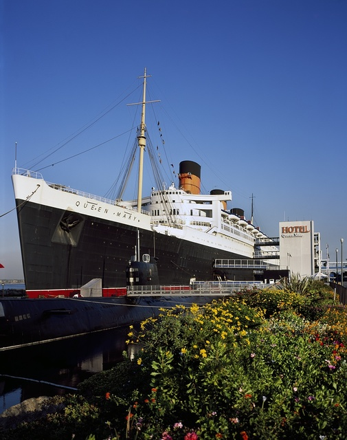 The Queen Mary, once a proud ocean liner, then a floating hotel, Long Beach, California