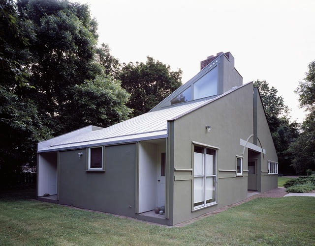 The Vanna Venturi House, one of the first prominent works of the postmodern architecture movement, is located in the suburban neighborhood of Chestnut Hill in Philadelphia, Pennsylvania