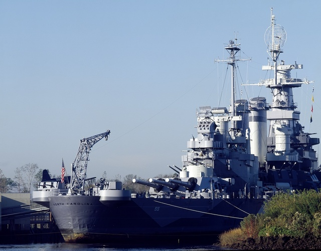 USS North Carolina, anchored in the Cape Fear River, Wilmington, North Carolina