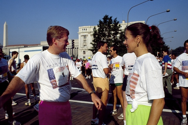 Vice President Dan Quayle and his wife Marilyn at Race for the Cure on Pennsylvania Avenue, Washington, D.C. in 1990