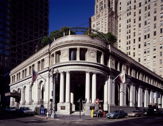 Wells Fargo branch at Market and Grant Streets, built as the Union Trust Bank in 1910 in San Francisco, California