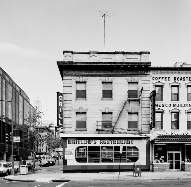 Whitlow's Restaurant, Coffee Roasters, and other stores at 11th and E Streets, N.W., Washington, D.C., photographed before they were demolished to make way for new buildings
