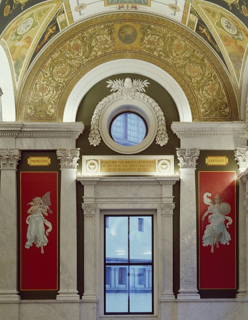Window and surrounding art in the Library of Congress Thomas Jefferson Building, Washington, D.C.
