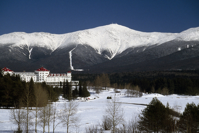 Wintertime view of the Mount Washington Hotel and Resort in New Hampshire's White Mountains
