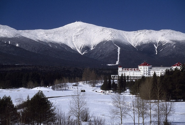 Wintertime view of the Mount Washington Hotel and Resort in the White Mountains, Bretton Woods, New Hampshire