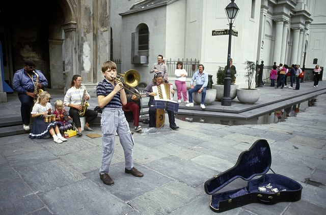 Young street musicians on Jackson Square in French Quarter of New Orleans, Louisiana