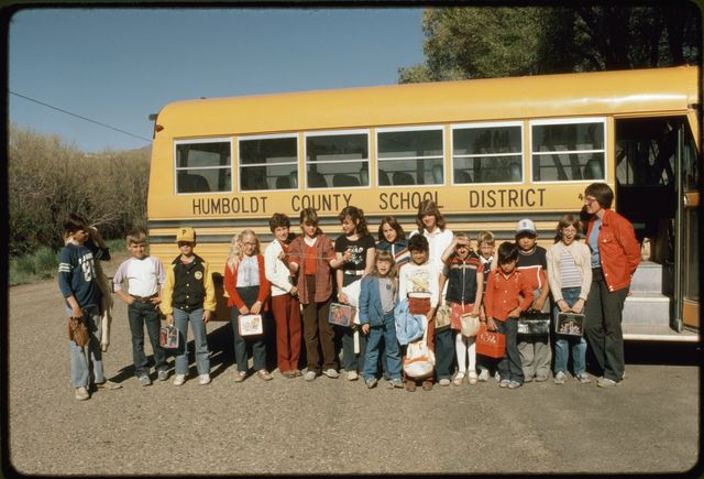 Children Beside School Bus