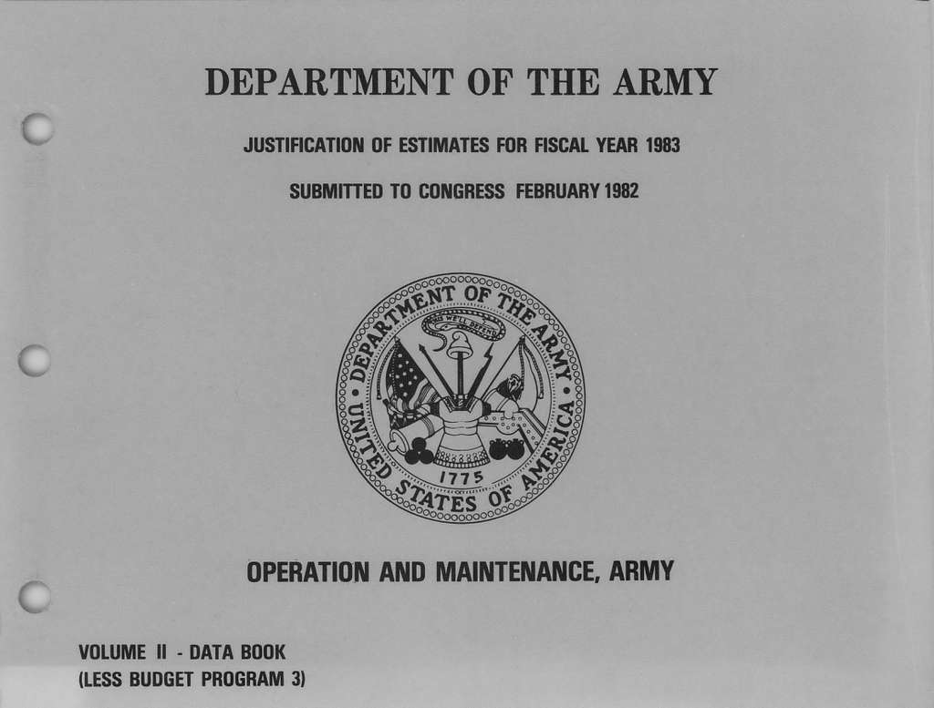 Department of the Army Justification of Estimates for Fiscal Year 1983, Operation and Maintenance, Army, Volume 2- Data Book (Less Budget Program 3), Submitted to Congress February 1982
