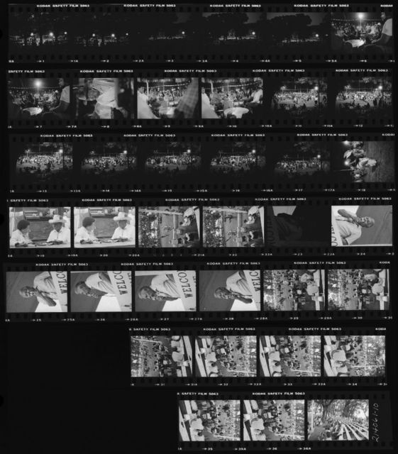 Contact Sheet: 1-5 Arena at Night from Hill; 6-7 Honey Creek Singers and Tai Piah Singers; 8 Charlie Edwards; 9-10 Host Drum; 11-17 Arena at Night; 18 Clown; 19-20 Dorothy Sara Lee and Clifford Wolfe, Sr.; 21-22 Grand Entry; 24-28 Tribal Elmer Blackbird Remarks; 29-34 Watching Dancers in Arena