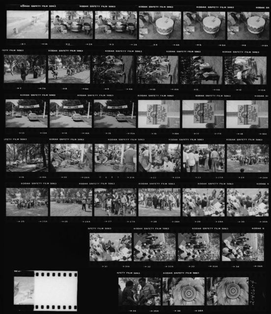Contact Sheet: 1-6 One of the Host Drum's Drums; 7-12 Grand Entry;  Women Dancers; 13-18 Gate to Pow-Wow; 19 Area to South of Small Arena; 20-22 Media Position; 23-24 Dance Honoring John and Susette Turner; 36-37 Whipman's Regalia