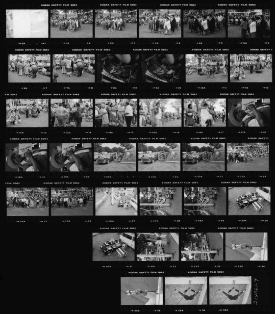 Contact Sheet: 1A-5A Pow-Wow Princess Special; 6A-9A Collecting Money at the Speakers' Stand in Preparation for Giveaway; 10A-19A Giveway During Pow-Wow Princess Special; 20A-22A Fancy Dancers Get Ready in Camp Area; 23A-25A Special; 26A-28A Maria La Vigna, Dorothy Sara Lee, and Two Nagras; 29A-30A Two Nagras; 31A-32A Microphone on Stand; 33A-34A E-V DO56 on Left Taped to Speaker's Microphone; 35A-36A Stereo Pair As Suspended Above Host Drum