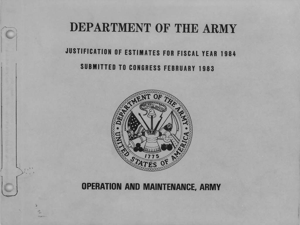 Department of the Army Justification of Estimates for Fiscal Year 1984, Operation and Maintenance, Army, Submitted to Congress February 1983