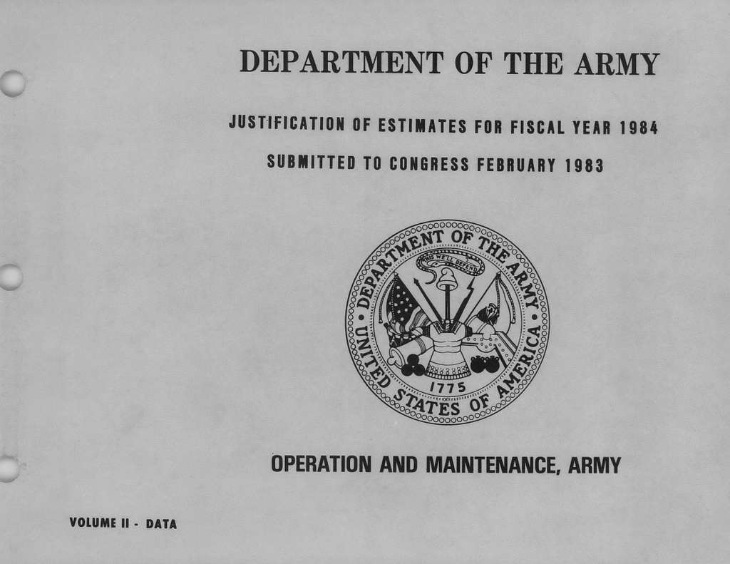 Department of the Army Justification of Estimates for Fiscal Year 1984, Operation and Maintenance, Army - Volume 2 - Data, Submitted to Congress February 1983