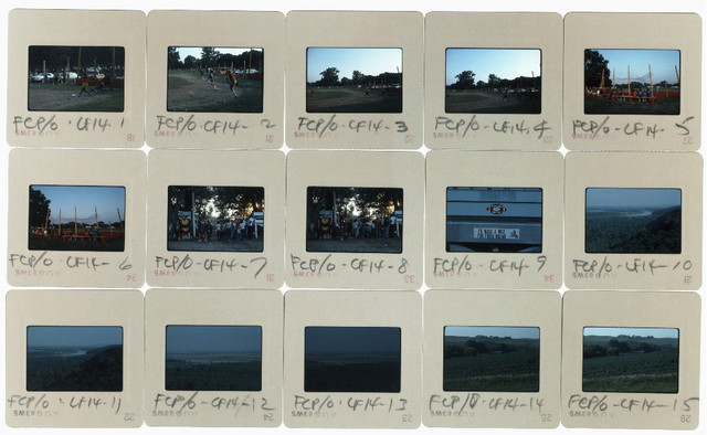 Group of slides: 1-6 Baseball Game in Macy; 7-8 Crowd at Main Gate Just Before Evening Grand Entry; 9 Bumper Sticker on Crafts Van in Midway; 10-11 View of Bluffs, Missouri River, and Iowa; 12-13 View of Iowa; 14-15 Farm on Nebraska State Route 94, Thurston County; 22-26 Crowd at Main Gate Just Before Evening Grand Entry; 27-28 Bumper Sticker on Crafts Van in Midway