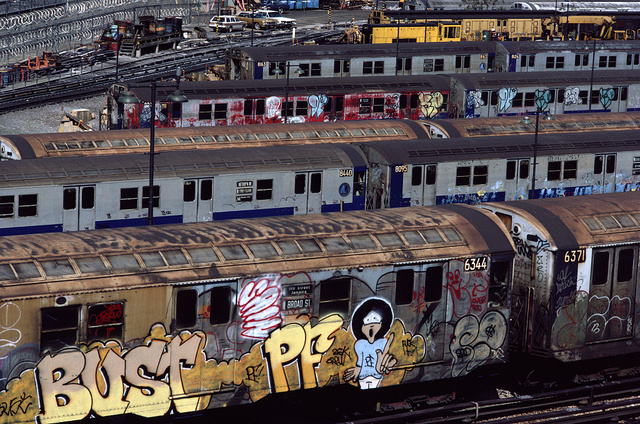 View from the Broadway Junction Elevated Station of the L train, Brooklyn, 1983