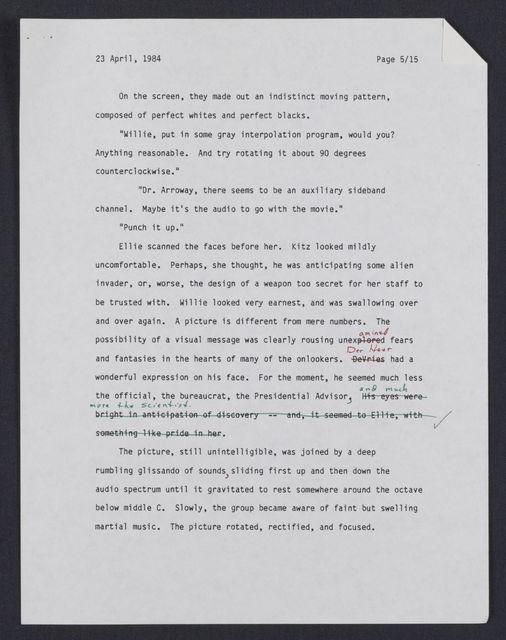 Contact : a novel : draft