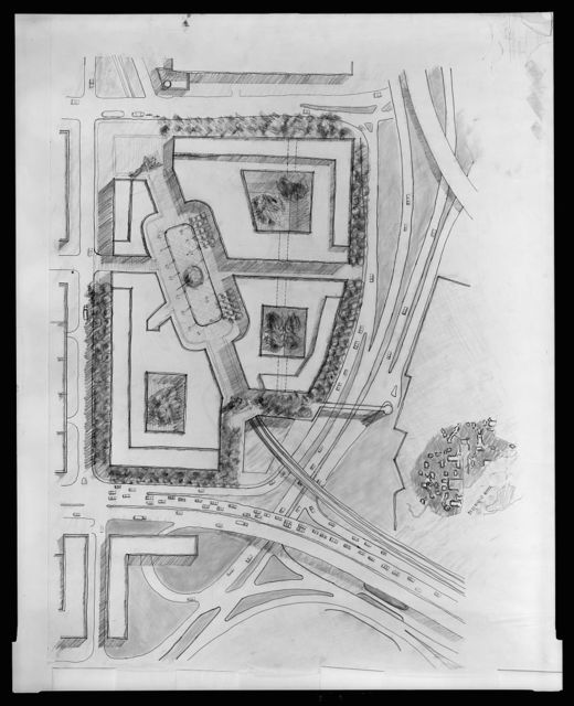 [Portals Site, between 14th Street and 12th Street, SW, Washington, D.C. (project). Perspective rendering]