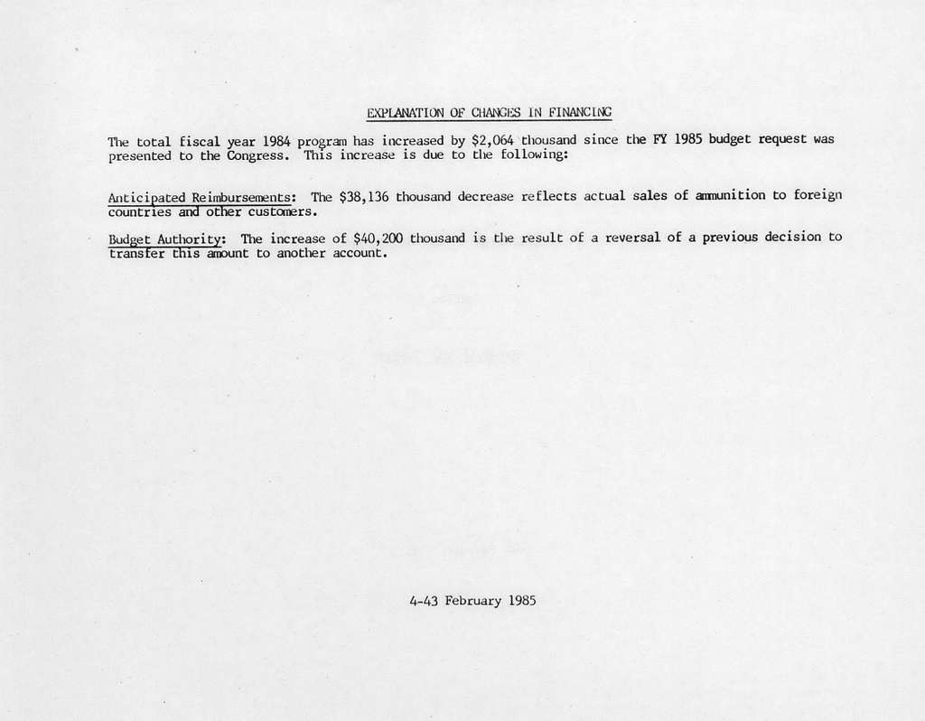Department of the Army Justification of Estimates for Fiscal Year 1986, Procurement Programs, Weapons and Tracked Combat Vehicles, Submitted to Congress February 1985, Ammunition
