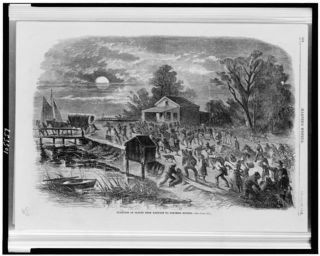 Stampede of slaves from Hampton to Fortress Monroe
