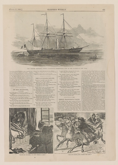"""The """"Jerome Napoleon,"""" Prince Napoleon's steam-yacht, now in the harbor of New York """"Death may be dark; but soon there is a day--"""" ; """"One long bound, and I passed the gate--""""."""