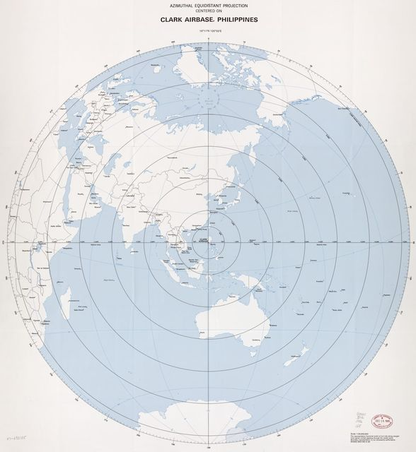 Azimuthal equidistant projection centered on Clark Airbase, Philippines, 15⁰11ʹN 120⁰32ʹE.