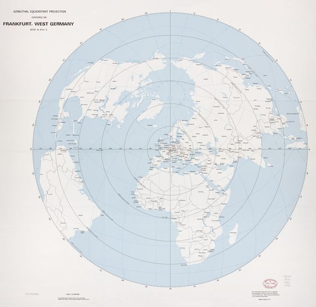 Azimuthal equidistant projection centered on Frankfurt, West Germany, 50⁰07ʹN, 8⁰41ʹE.