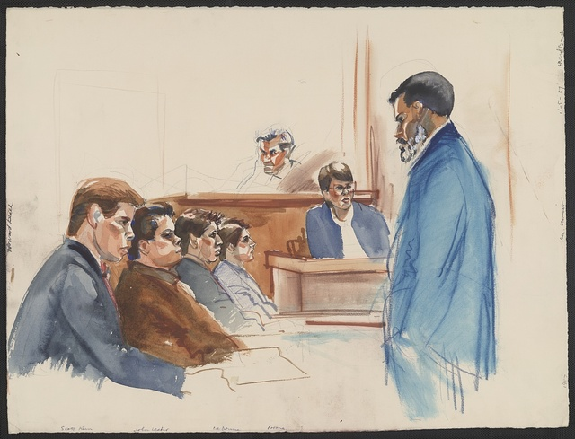 [Defendants Scott Kern, Jon Lester, Jason Ladone, and Michael Pirone face African American man, possibly lawyer C. Vernon Mason or Alton Maddox, as Judge Thomas A. Demakos and medical examiner Dr. Gwen Harleman observe at Howard Beach manslaughter and assault trial]