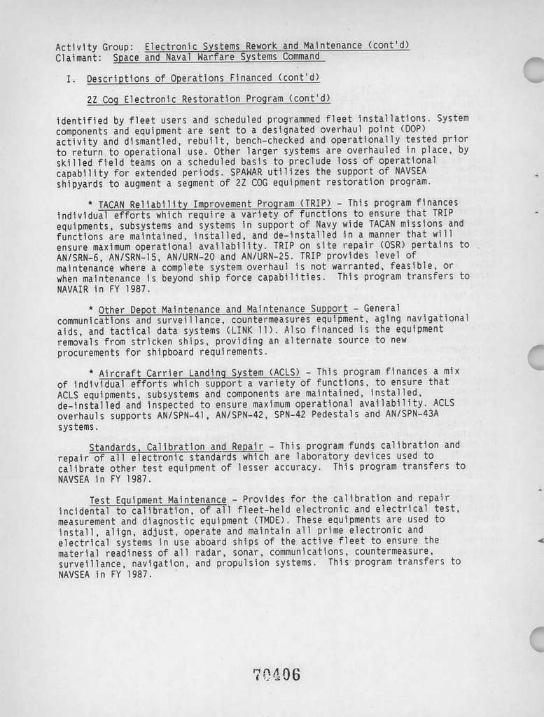 Department of the Navy Justification of Estimates for Fiscal Years 1988 and 1989, Operation and Maintenance, Navy Book 2 of 3, Submitted to Congress January 1987, Budget Activity 7: Central Supply and Maintenance