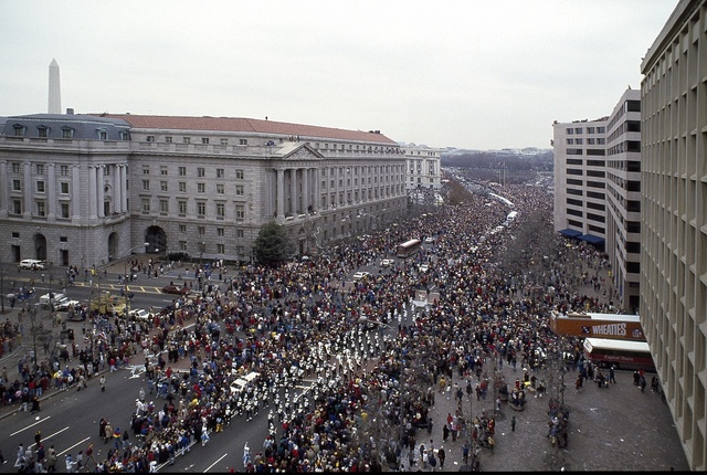 Parade on Pennsylvania Avenue, Washington, D.C., in 1987 celebrating the Washington Redskins' victory in football's Super Bowl