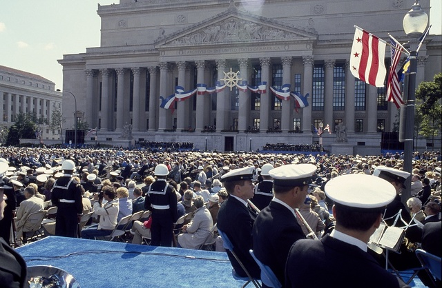 The 1987 dedication of the Navy Memorial on Pennsylvania Avenue in Washington, D.C.