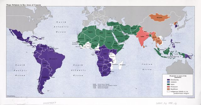 Major religions in key areas of concern : [world map].