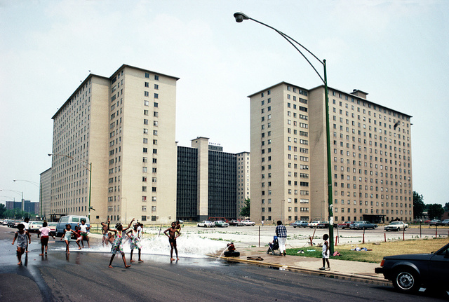Robert Taylor Homes, view NE from S. Federal St. towards E. 45th St., Chicago, 1988