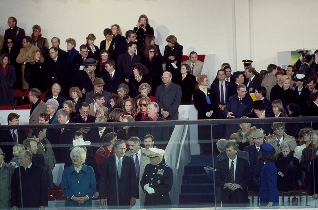 Presidential reviewing stand at the Inaugural Parade for President George H.W. Bush on January 20, 1989, Washington, D.C.