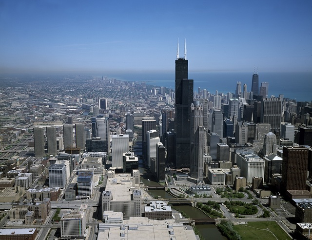 Aerial view of Chicago, Illinois featuring Willis Tower, known as Sears Tower when this photo was taken in the 1990s
