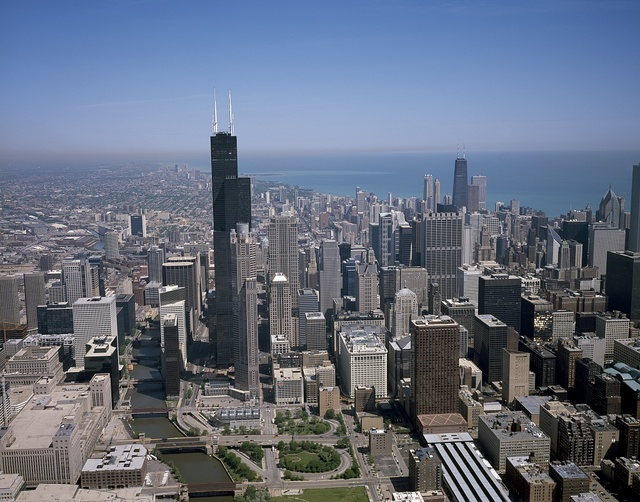 Aerial view of skyline, Chicago, Illinois