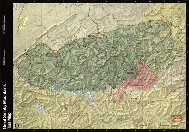 Great Smoky Mountains National Park, North Carolina/Tennessee, trail map /