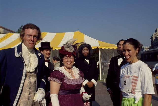 Second Lady Marilyn Quayle, right, with costumed historical interpreters at a Race for the Cure run in 1990, Washington, D.C..