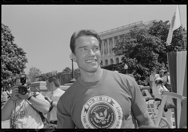 [Arnold Schwarzenegger on Capitol Hill for an event related to the President's Council on Physical Fitness and Sports]