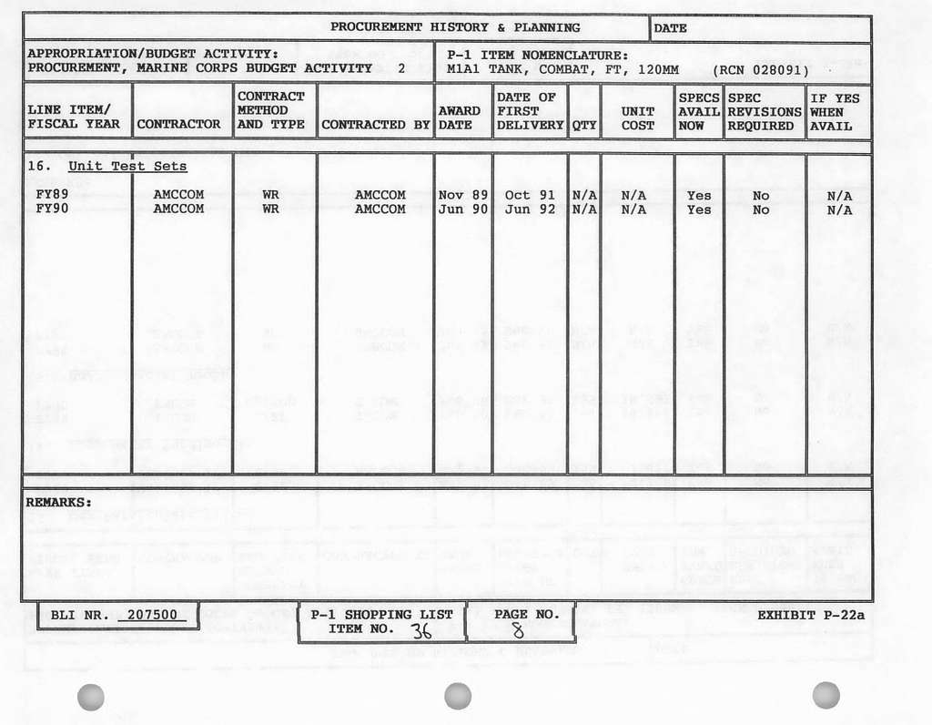 FY 19921993 President's Budget Committee Staff Procurement Backup Book, Procurement, Marine Corps, Budget Activity No. 2 Weapons and Tracked Combat Vehicles, February 1991
