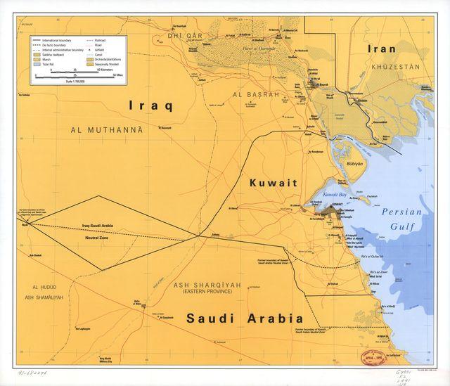 [Map showing neutral zones between Saudi Arabia and Iraq and between Saudi Arabia and Kuwait].