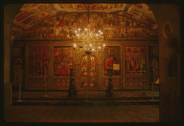 Church of Elijah the Prophet (1647-50), interior, Chapel of the Deposition of the Robe, view east with icon screen, Yaroslavl', Russia