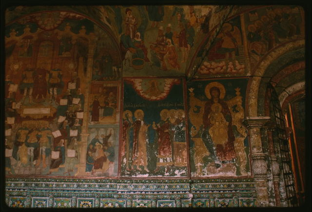 Church of Elijah the Prophet (1647-50), interior, west gallery, with ceramic ornament and fresco of Christ bound by Roman soldiers (1715-16), Yaroslavl', Russia