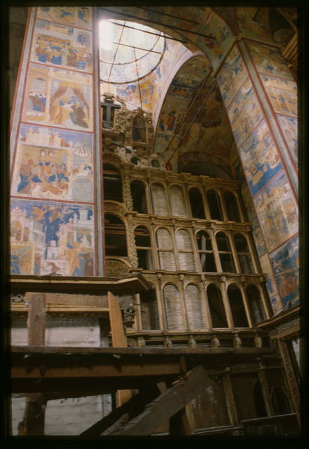 Church of John the Baptist at Tolchkovo (1671-87), interior, view east, with icon screen and frescoes (1694-95), Yaroslavl', Russia