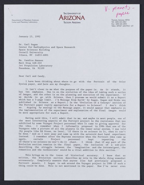 Letter from Carolyn Porco to Carl Sagan