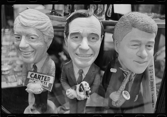 [Bobblehead dolls of presidents Jimmy Carter, George H. W. Bush and Bill Clinton in the store Political Americana, Washington, D.C.]