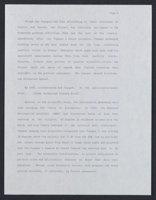 Letter from Carolyn Porco to Carl Sagan and Draft of Portrait of the Solar System Paper