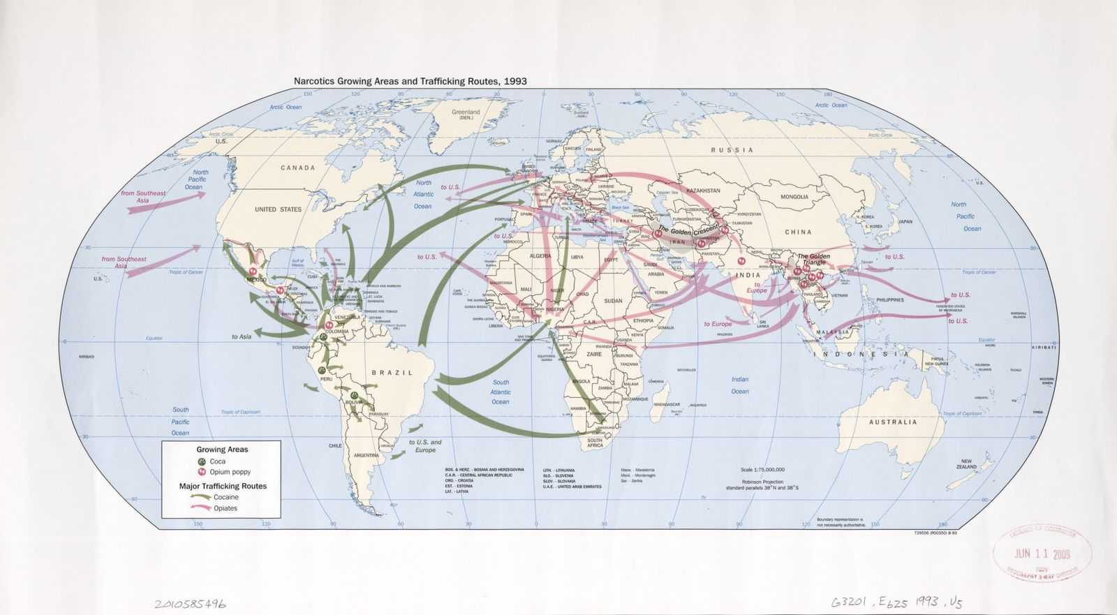 Narcotics growing areas and trafficking routes, 1993 : [world map ...